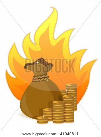 Coins Money Bag On Fire