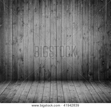 wooden interior in black and white