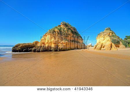 Natural rocks at Praia Tres Irmaos in Alvor Portugal