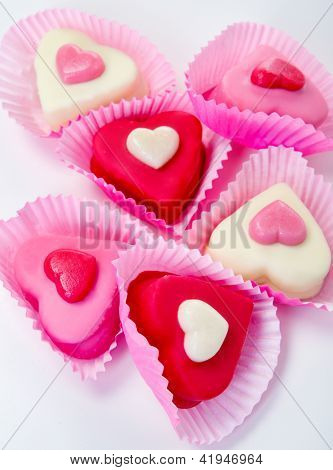 Sweet hearts over white background