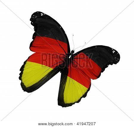 德国国旗蝴蝶飞,孤立在白色背景