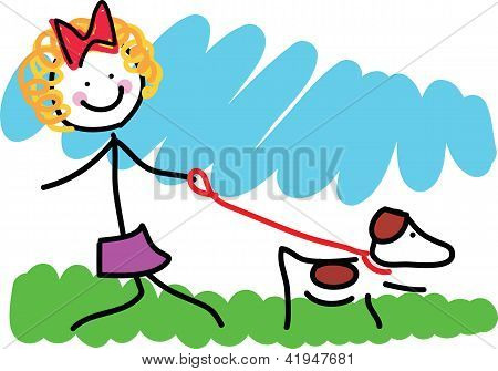 Little Girl And Dog Drawing