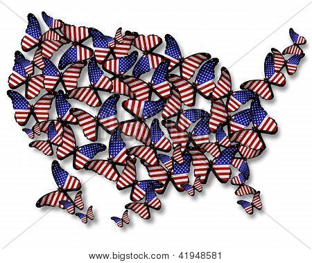 Flock Of American Flag Butterflies Flying As Map Of Usa, Isolated On White Background