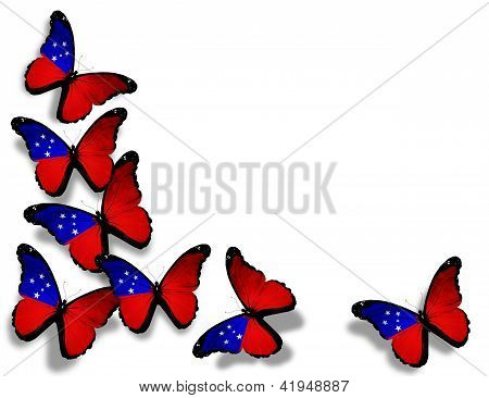 Samoa Flag Butterflies, Isolated On White Background