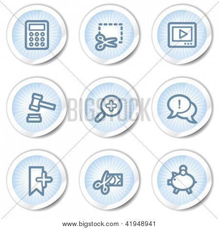 Shopping web icons set 3, light blue stickers