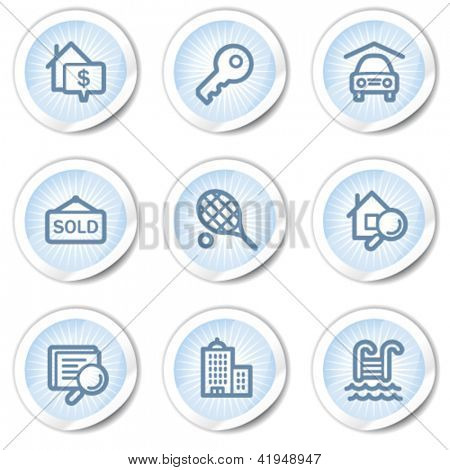 Real estate web icons, light blue stickers