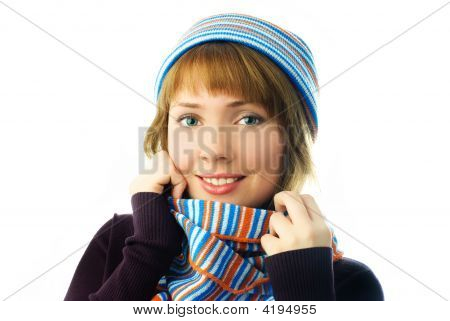 Beautiful Girl Wearing A Scarf And Warm Hat