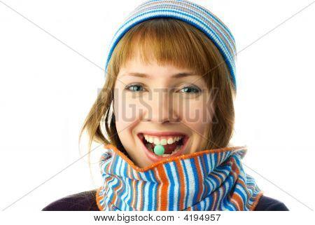 Beautiful Girl Taking Vitamins