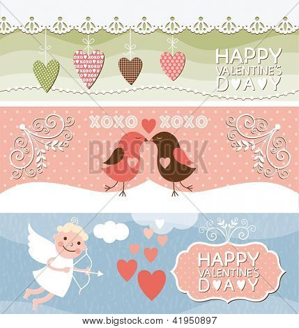 set of horizontal valentine banners