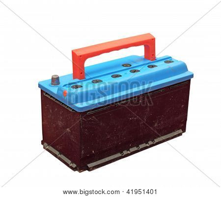 Car Battery Over White