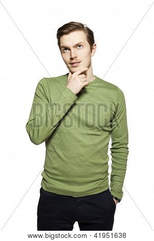 Young Man Against A White Background