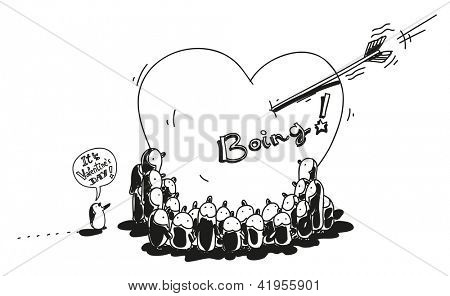 cute little penguins gathering around big heart, Valentine's Day cartoon vector