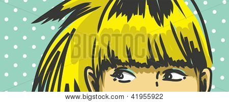 woman peeking out vector drawing, retro polka dots background
