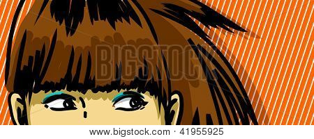 woman peeking out vector drawing, stripped pattern red background