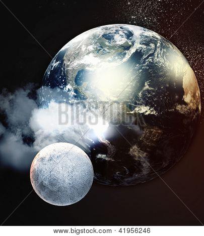 Imagem dos planetas no espaço fantástico contra o fundo escuro.Elementos da imagem são mobilados com