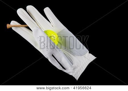 Isolated Golf Glove With Ball And Tee, On Black.