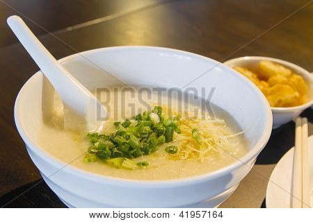 Bowl Of Chinese Porridge Closeup