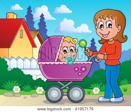 Baby carriage theme image 2 - vector illustration.