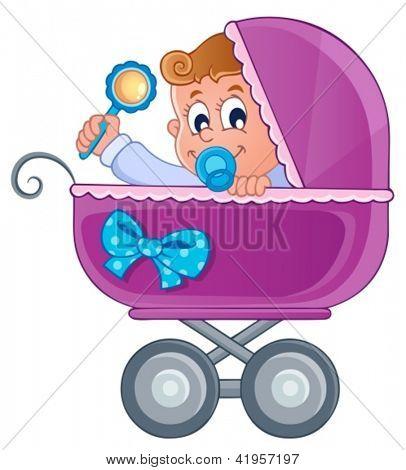 Imagen del tema de cochecito de bebé 3 - ilustración vectorial.