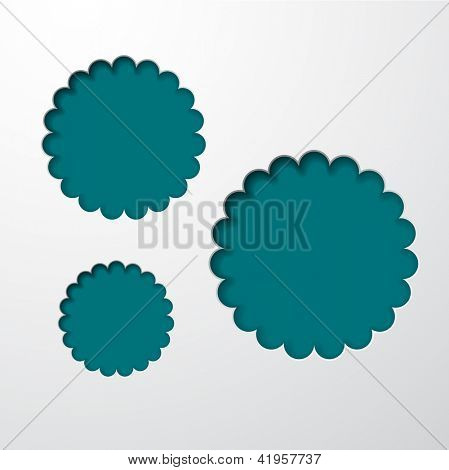 Vector illustration of blue paper notched out flower round bubbles. Eps10.