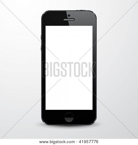 Ilustração em vetor de preto smartphone realista moderno com tela branca vazia. Eps10.