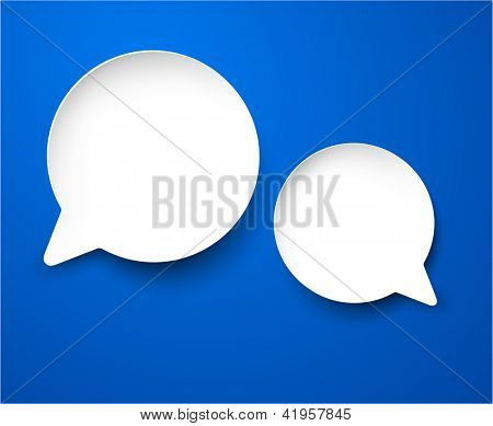 Vector abstract illustration of white paper round speech bubbles on blue background. Eps10.