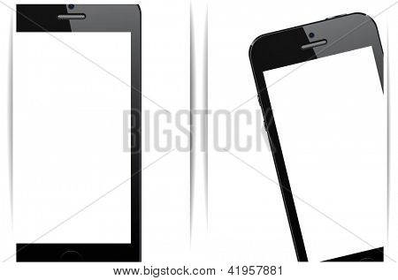 Vector illustration of abstract background with modern realistic smartphone with empty white screen. Eps10.