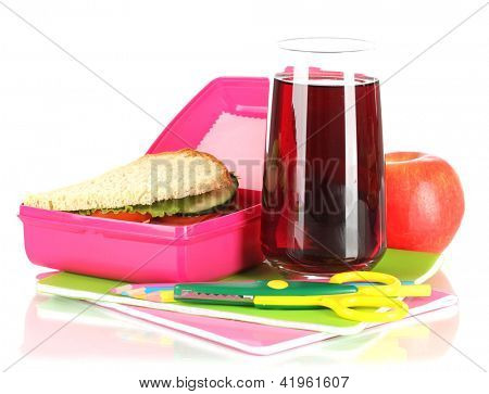Lunch box with sandwich,apple,juice and stationery isolated on white