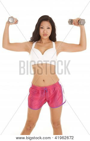Asian Woman Pink Shorts Flex Weights