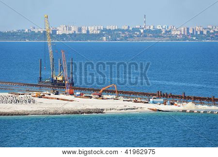 Construction work of new terminal in port