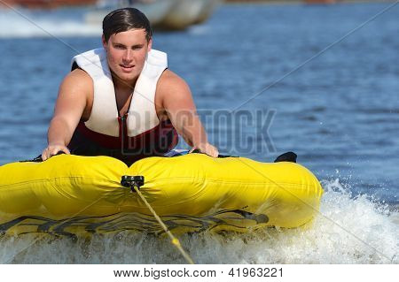 Teenage Tuber Getting Ready to Start His Run