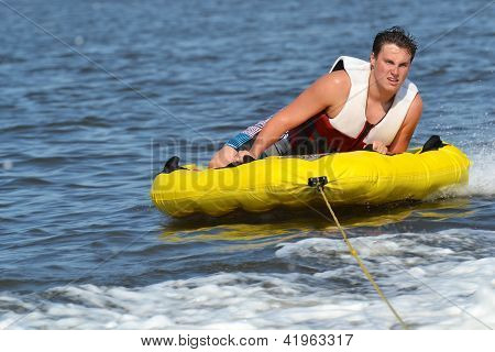 Tuber Sliding Outside Wake