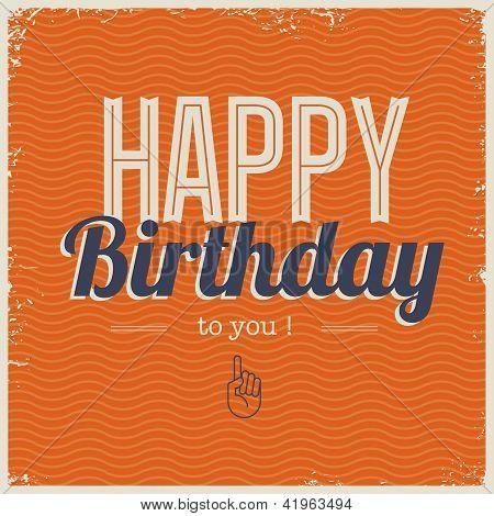 Happy birthday card with retro typography