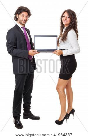 Two Business People With A Laptop