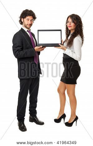 Laptop And Business Couple