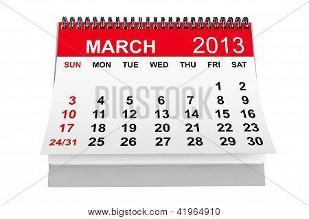 Calendario marzo de 2013