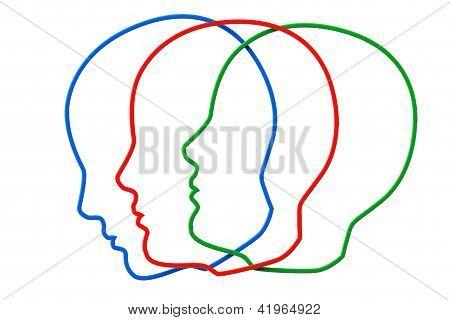 Contornos de tres cabeza de Color