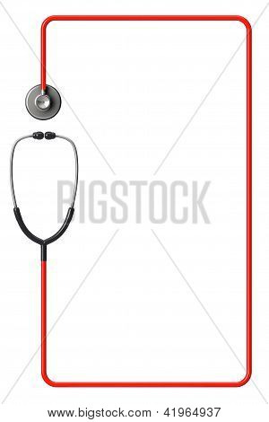 Stethoscope In Red As Frame
