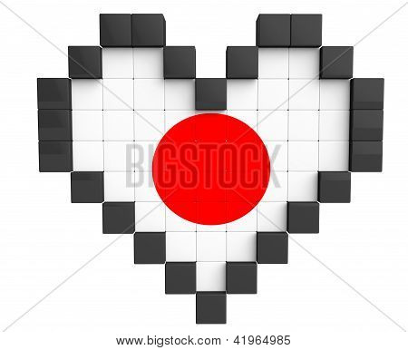 Pixel Heart As Japan Flag