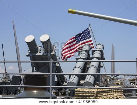 Harpoon cruise missile launchers on the deck of US Navy destroyer