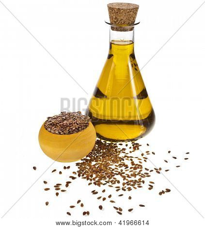 flax seed oil isolated on white background