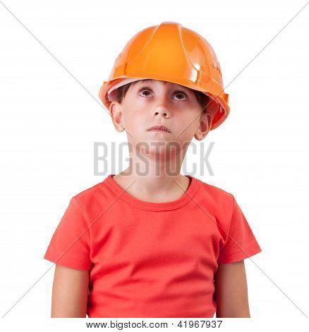 Girl In An Orange Helmet Looking Up