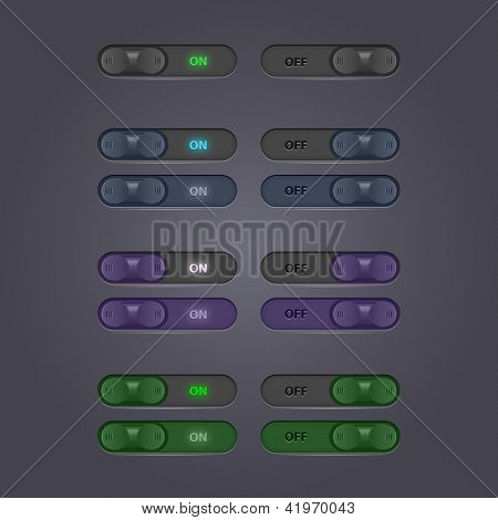 Set Of Toggle Buttons. Vector User Interface Collection. Switches And Tumblers