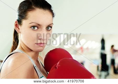 Boxer Woman During Boxing Exercise