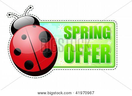 Spring Offer Green Label With Ladybird