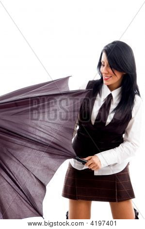Female Model With An Umbrella