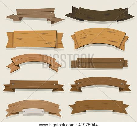 Cartoon Wood Banners And Ribbons