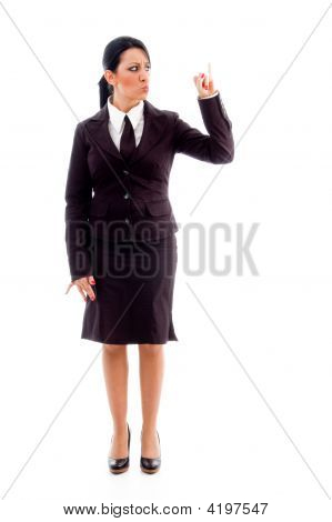 Standing Manager Showing Counting Hand Gesture