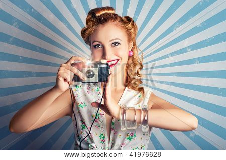 Young Happy Vintage Woman With Old Film Camera