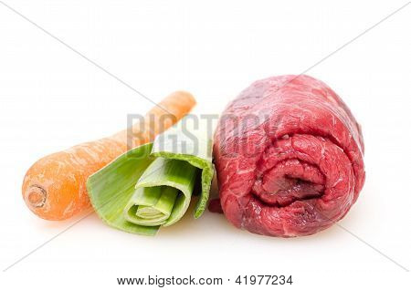 Beef Roulade With Leek And Carrot
